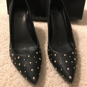 Black J. Crew heels with gold stud detailing